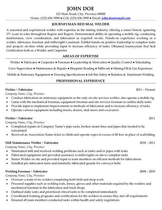Best Welder Resume Example LiveCareer. Welding Resumes Examples ...