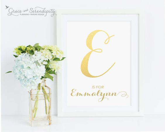 Personalized Gold Foil Alphabet Nursery Print  by GraceSerendipityShop