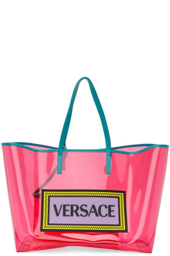 abc55221 Versace - Pink & Blue PVC Oversized Tote   Shoes in 2019   Versace ...
