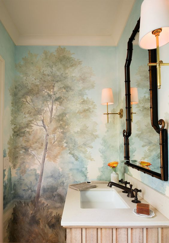 Kelley Flynn designed bathroom with gorgeous Barringtons Rich mural by Susan Harter. Peaceful Timeless Trompe-l'oeil Wall Murals to Inspire as well as breathtaking design inspiration.