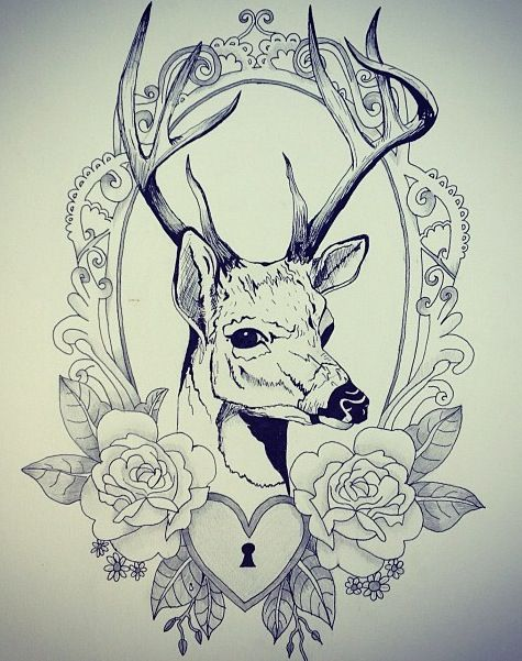 Deer tattoo.  Not a fan of the lock and my idea would be different, but similar to this.