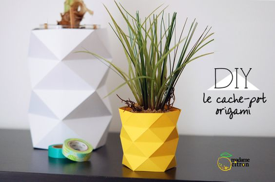 cache pot papier origami forme g om trique petit style ananas diy pinterest planters. Black Bedroom Furniture Sets. Home Design Ideas
