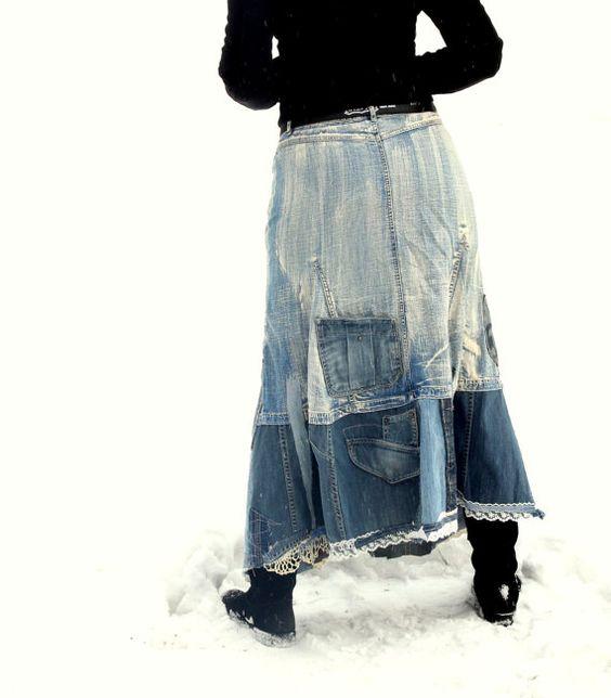M-L Recycled denim jeans street fashion long skirt by jamfashion: