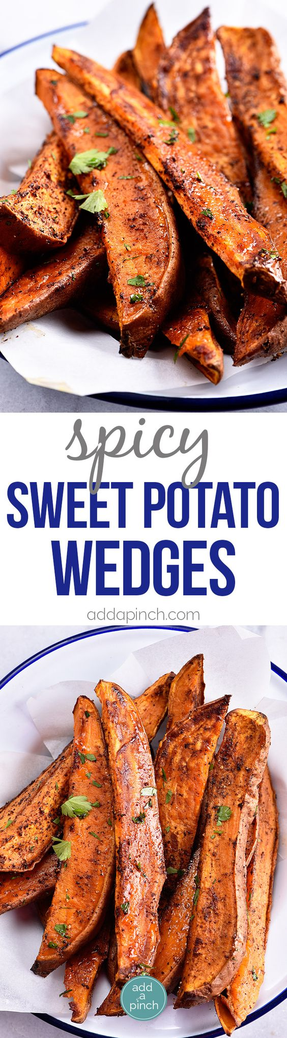 Spicy Sweet Potato Wedges Recipe - Spicy Roasted Sweet Potato Wedges make an easy and delicious recipe! Made with just five ingredients, these roasted sweet potatoes will definitely become a favorite! // addapinch.com