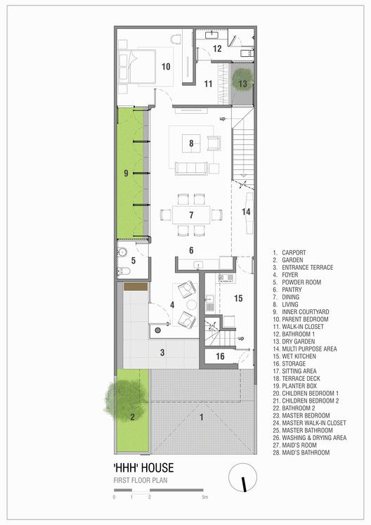 Gallery Of Hhh House Simple Projects Architecture 1 Narrow House Plans Architecture House Modern Architecture House