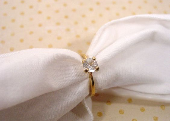 Avon CZ Solitaire gold tone ring 18K H.G.E. heavy by FrogTears