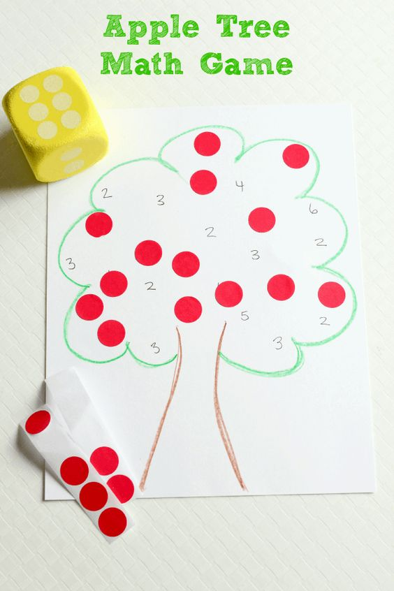 Apple theme math game for preschool learners. Counting, number identification and subitizing.: