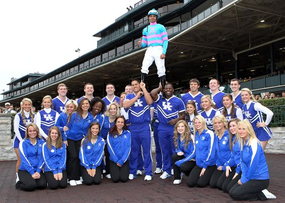 Jockey Victor Lebron gets in the See Blue Day spirit after winning the 3rd race at Keeneland on Sweetheartsforever.