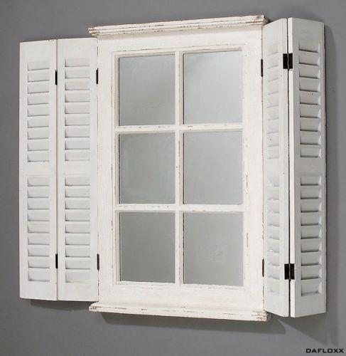 spiegel weiss mit fensterl den wandspiegel holz landhaus. Black Bedroom Furniture Sets. Home Design Ideas