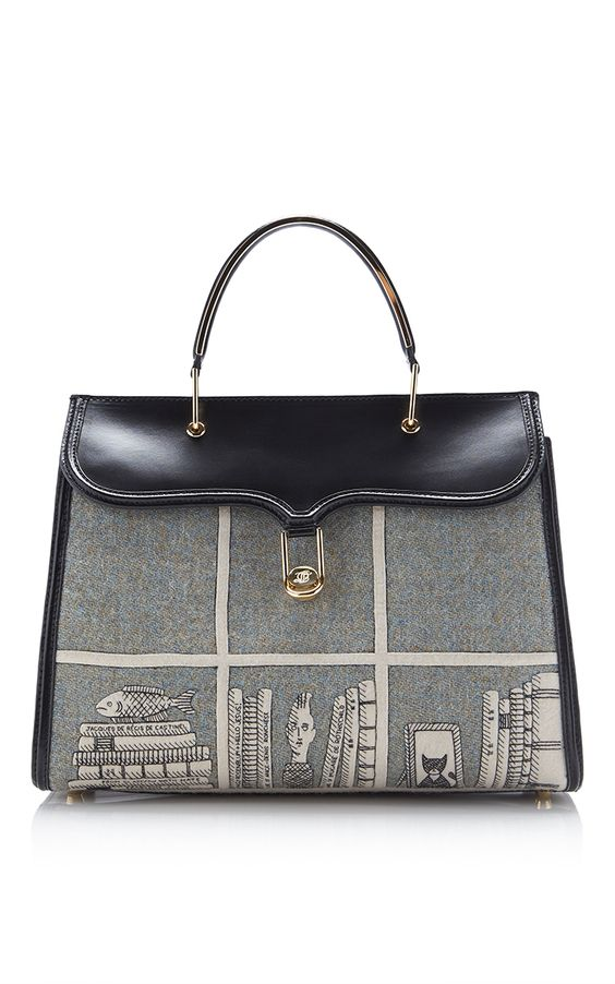 Marguerite Tweed Library Embroidered Top Handle Bag by OLYMPIA LE-TAN 2016 pre fall
