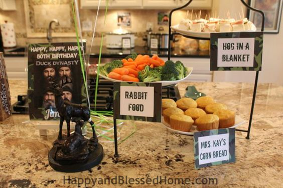 Hunting Theme Parties with Camouflage and Duck Dynasty Food from HappyandBlessedHome.com