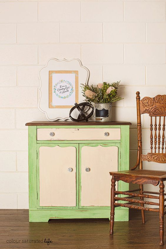 Newly Refurbished Green & Cream Country Vintage by GillyandCo:
