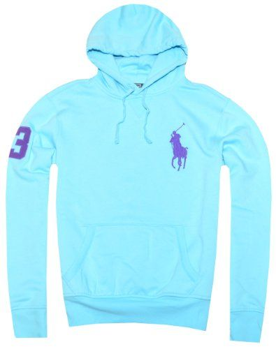 Polo Ralph Lauren Men Fashion Big Pony Logo Fleece Hoodie, Small, French Turquoise Polo