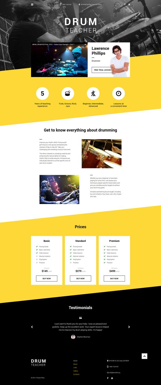 Drum Teacher Website Template | Shape, Colors and The o'jays