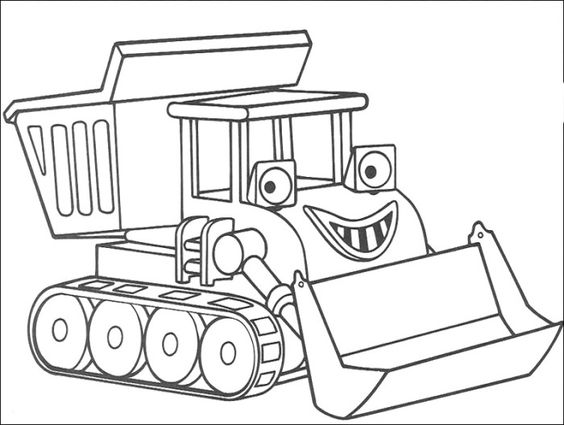 bulldozer coloring pages | Simple Bulldozer Coloring Pages