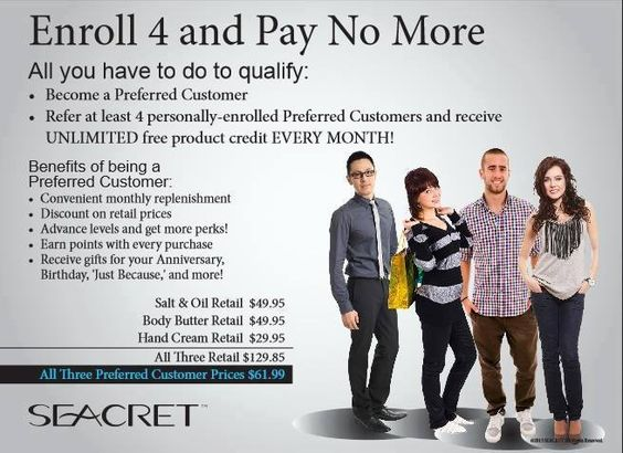 Lets get you started on a Seacret skin care regimen as a preferred customer. Take advantage of the amazing rewards you get just for sharing the products with friends and family. Contact me today for more information.