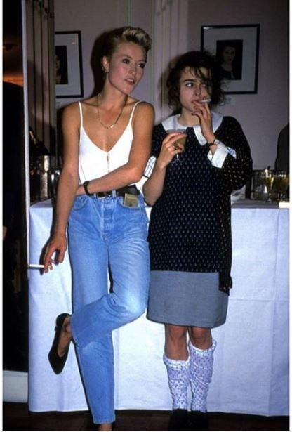 Helena Bonham Carter at an Elle party, 1988 [415x615] : OldSchoolCool
