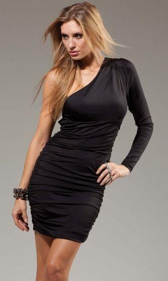 Broadway Mini Dress - Single sleeve form fitting mini dress - All New Sexy Clubwear and Mini Dresses from Body Body.