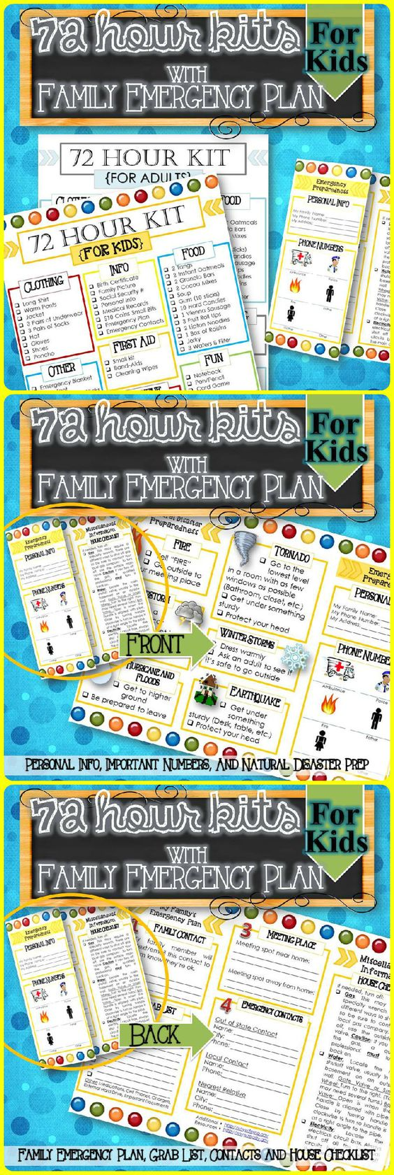 """A simple way to help children and your family be ready for an emergency or natural disaster. Includes, 72 Hour Kit for Children/Babies and adults and a Family Emergency/Natural Disaster Preparedness Brochure for Personal Info, Important Phone Numbers (Police, Fire, etc.), Family Emergency Plan (Contacts, Where to Meet, etc.), """"Before We Leave"""" Grab List, House Checklist (How to Shut off Gas, Water, etc.), What to Do in a Natural Disaster (Fire, Tornado, etc.)."""