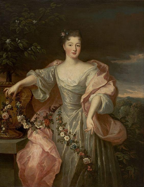 ca. 1720 Portrait of a Bride with Flowers (Charlotte Aglaé d'Orléans, called Mademoiselle de Valois) by Pierre Gobert (Museu de Arte de São Paulo, São Paulo, Brazil)
