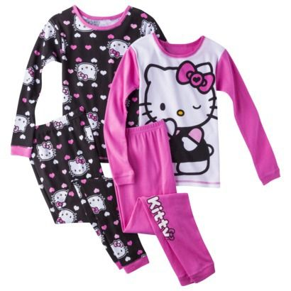 Hello Kitty Girls' 4-Piece Long-Sleeve Pajama Set 5t (toddler) or ...