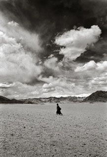 Buddhist boy in Ranbirpura, about 20 kms from Leh, pictured in black and white