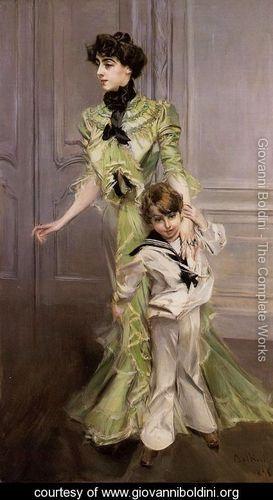 Portrait Of Madame Georges Hugo (nee Pauleen Menard Dozian) And Her Son  Jean - Giovanni Boldini - www.giovanniboldini.org