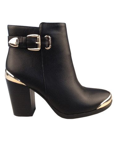 Loving this Black Apollo Gold Accent Booties Primp and posh, these ...