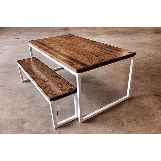 Deon Industrial Style Pattern Metal Rectangle Coffee Table: Elliot Dining Table. Steel Square Tube Frame With