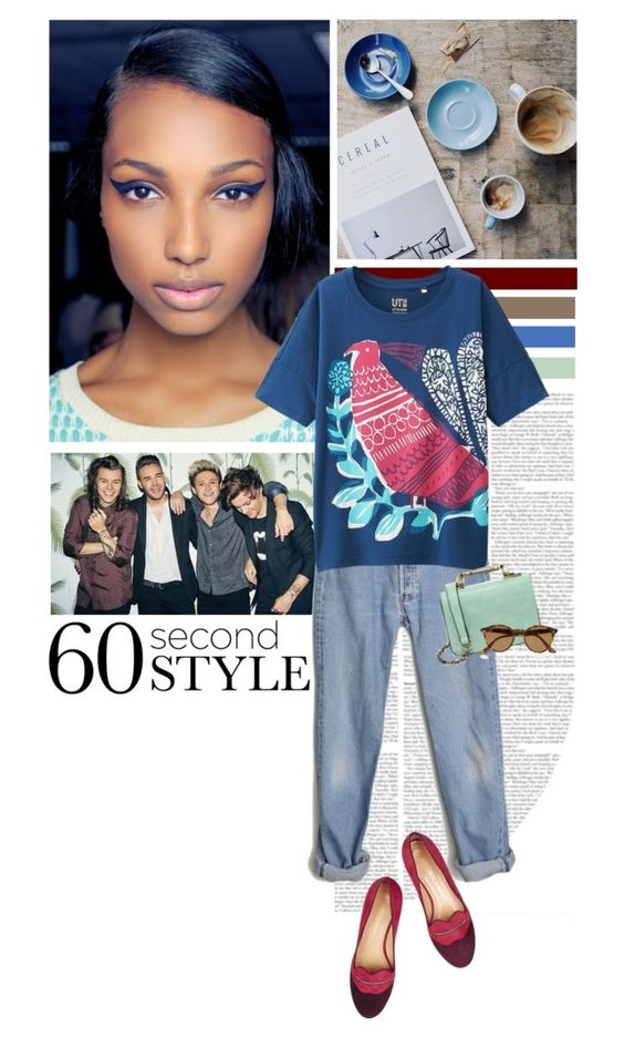 """""""60 Second Style: Graphic T-shirt"""" by mojmoj ❤ liked on Polyvore featuring Levi's, Uniqlo, Charlotte Olympia, Nila Anthony and Ray-Ban"""