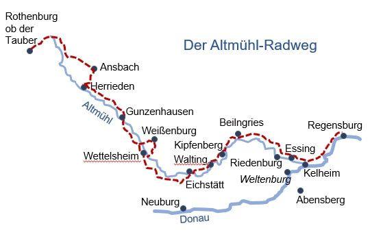 Karte Altmuhltal Radweg Von Tourmondial De In 2020 Radtour Fahrradtour Radtouren