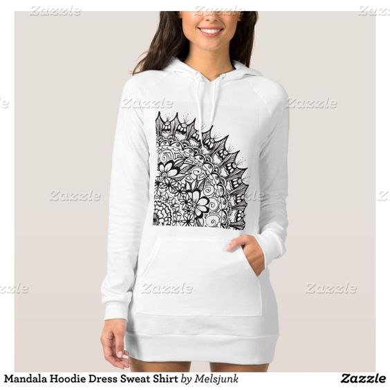 Mandala Hoodie Dress Sweat Shirt ($47) ❤ liked on Polyvore featuring tops, hoodies, hooded pullover, hoodie top, white hoodies, white hooded sweatshirt and white hoodie