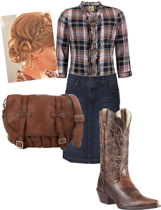 """""""Country Charm"""" by daisyhedo ❤ liked on Polyvore... would want these with jeans instead of a skirt"""