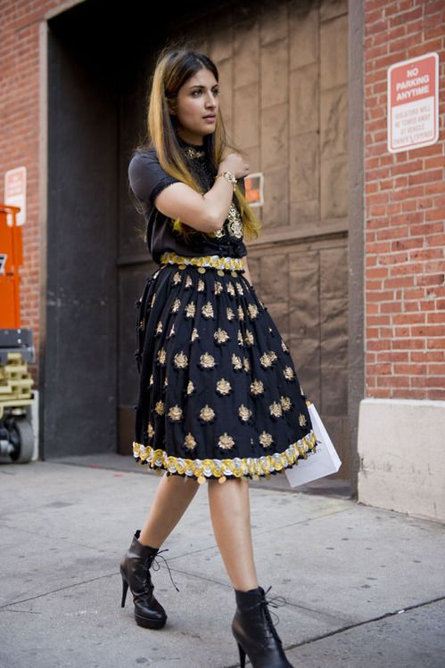 Russian doll goes to New York. And don't forget, the fuller the skirt, the higher the heels.