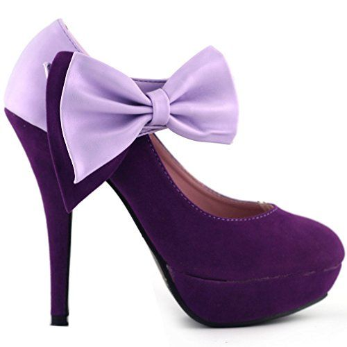 Show Story Purple Bow Ankle Strap Stiletto Platform Pumps ...
