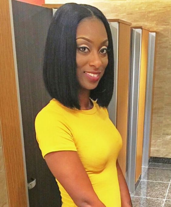 Blunt Cut Weave Cap: Middle Part Bob, Middle Parts And Bobs On Pinterest