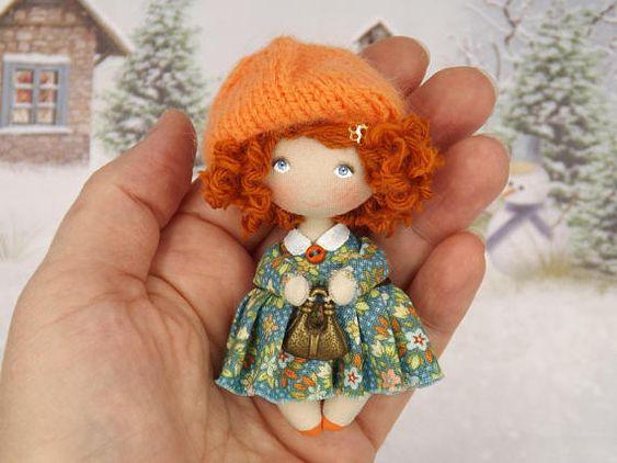 Miniatur-Puppe OOAK Art Stoffsammlung Geschenk Frau für ihre