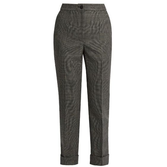 Dolce & Gabbana Prince of Wales-checked wool cropped trousers (€970) ❤ liked on Polyvore featuring pants, capris, grey, tapered leg pants, woolen pants, cropped pants, cropped capri pants and gray pants
