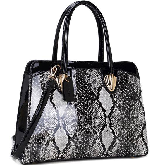 Dasein Faux Patent Shoulder Bag with Snakeskin Detail, Women's
