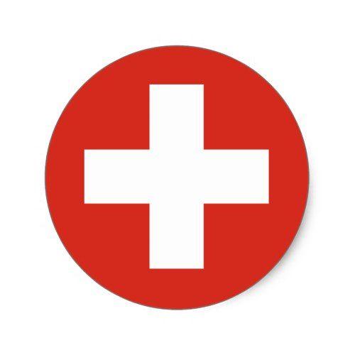 Swiss Flag Red Cross Classic Round Sticker Zazzle Com Red Cross Round Stickers Swiss Flag