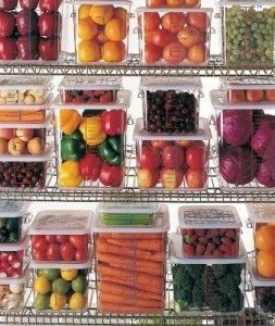 clear (dollar store) totes for refrigerator organization