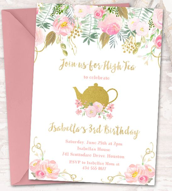 Instantly Personalize U2013 Editable Birthday Party Invitation Template U2013 Tea  Party Watercolor Flowers Gold Glitter U2013