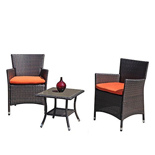 Patioroma Patio Porch Furniture Set 3 Piece Pe Brown Rattan Wicker Chairs Orange Cushion Glass Coffee Table Outdoor Garden Furniture Sets Review Porch Furniture Sets Outdoor Patio Furniture Sets Porch Furniture