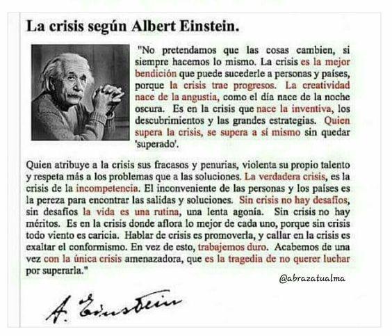 En la Crisis Es Donde Aflora lo Mejor de Cada Uno, Einstein