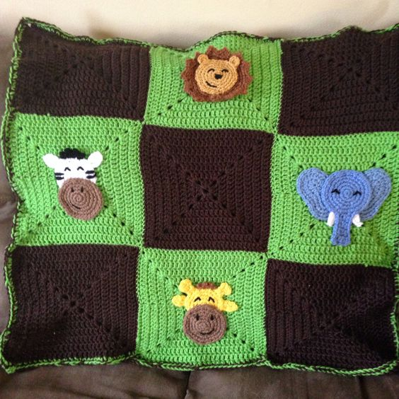 Crochet Patterns Jungle Animals : Jungle animals, Animal babies and Baby blankets on Pinterest