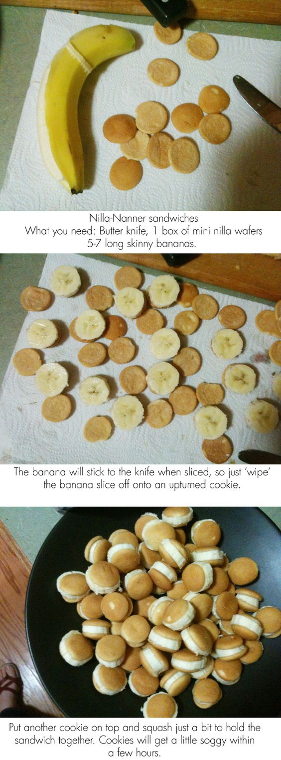 Nilla-Nanner sandwiches. Perfect! add nutella:)! That's kind of really cute. Great snack for kiddos, and I really like the name =)