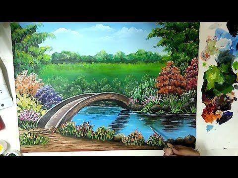 Bridge In A Beautiful Landscape Acrylic Painting Tutorial Youtube Beautiful Landscape Paintings Scenery Paintings Beautiful Scenery Paintings