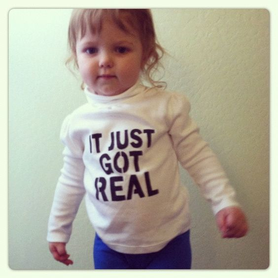 Toddler It Just Got REAL shirt hand stenciled made to order size 18M to 5T. $15.00, via Etsy.
