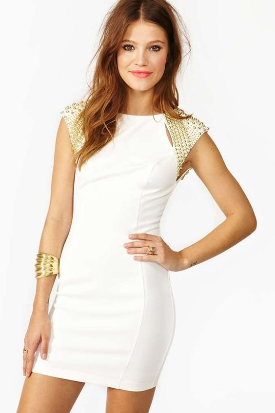 White hot party dress featuring gold beaded shoulders and slit ...