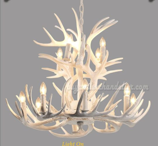 Best 12 Cast Deer Antler Chandelier Pure White Ceiling Lights 8